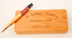 Stars and Stripes Veteran Honor Pen & Engraved Box