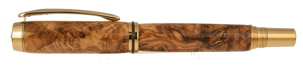 Black Ash Burl Pen inlaid with Bronze